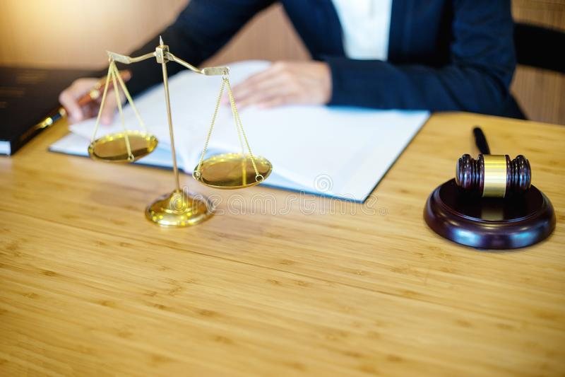businesswoman leader of the group in law firm stock images
