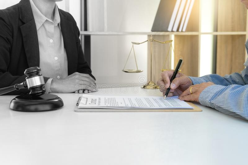 Businesswoman leader of the group in law firm. Corporate and judge court concept woman head. Balck and white color mix royalty free stock photos