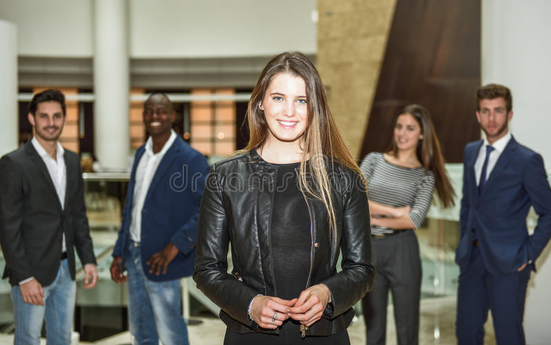 Businesswoman leader looking at camera in working environment. royalty free stock photo