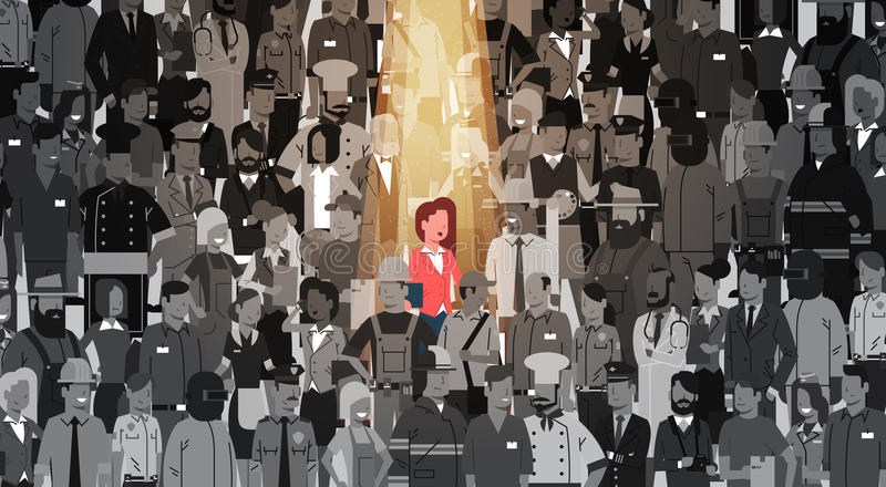Businesswoman Leader Stand Out From Crowd Individual, Spotlight Hire Human Resource Recruitment Candidate People Group royalty free illustration