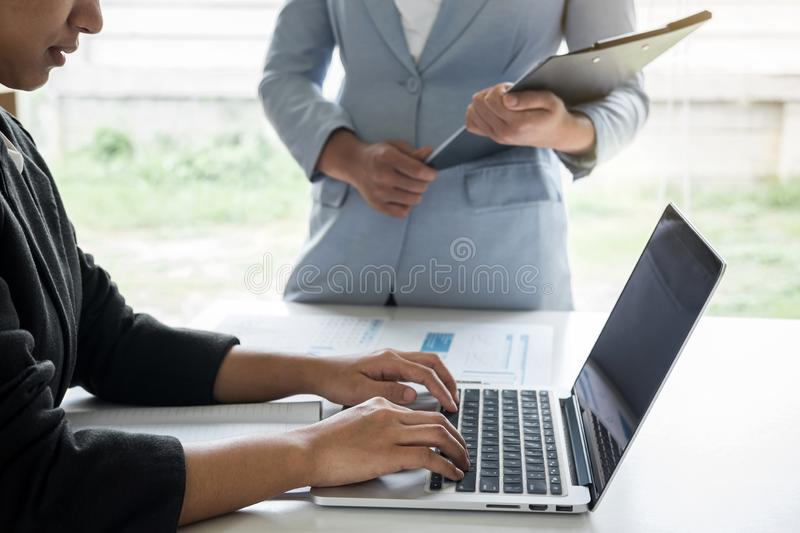 Businesswoman leader team conference on meeting presentation to planning investment project working and strategy of business. Making conversation with partner royalty free stock photos