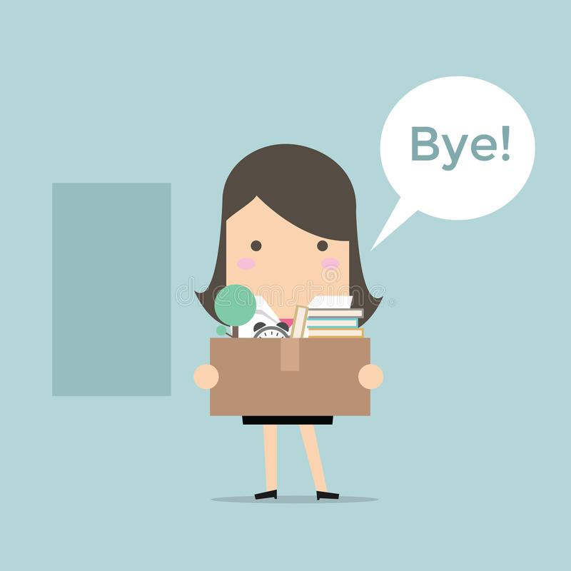 Businesswoman Leaving Job. Vector illustration vector illustration