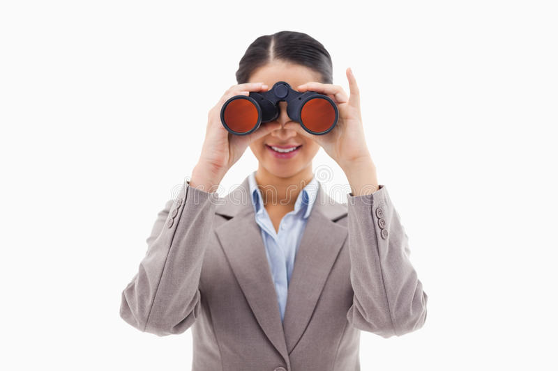 Download Businesswoman Looking Through Binoculars Stock Photo - Image: 22663582
