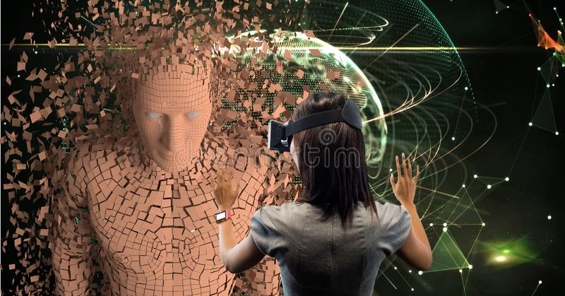 Businesswoman looking at 3d image through VR glasses. Digital composite of Businesswoman looking at 3d image through VR glasses stock photos