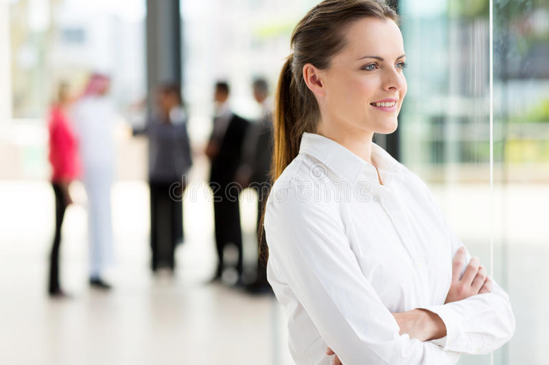 Businesswoman looking outside royalty free stock photos
