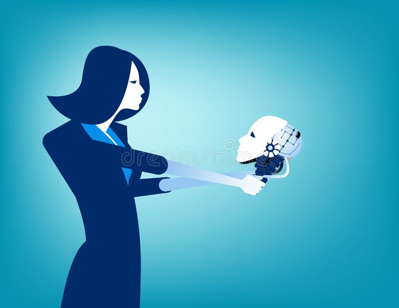 Businesswoman looking at robot skull in hand. Concept technology vector illustration royalty free illustration