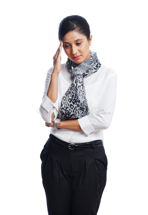 Businesswoman looking sad royalty free stock image