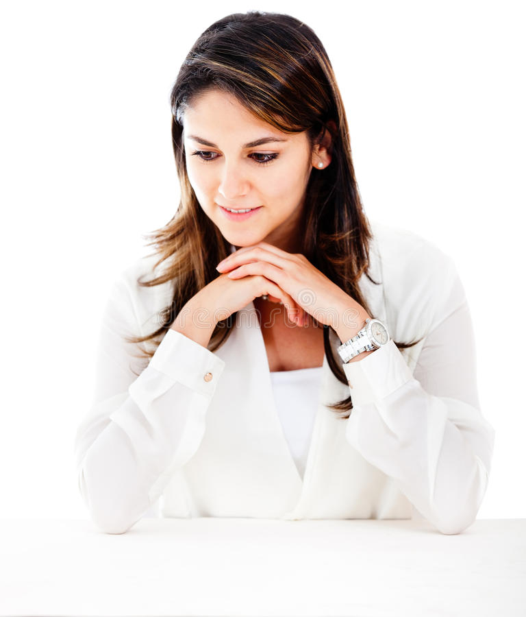 Download Businesswoman Looking At The Table Stock Image - Image: 24499029