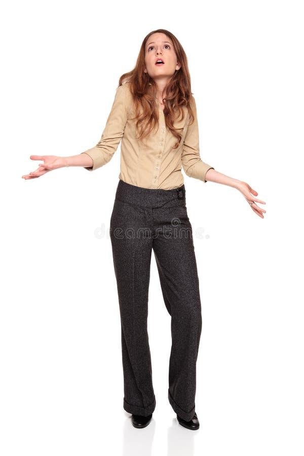 Businesswoman - looking up in disbelief stock photos