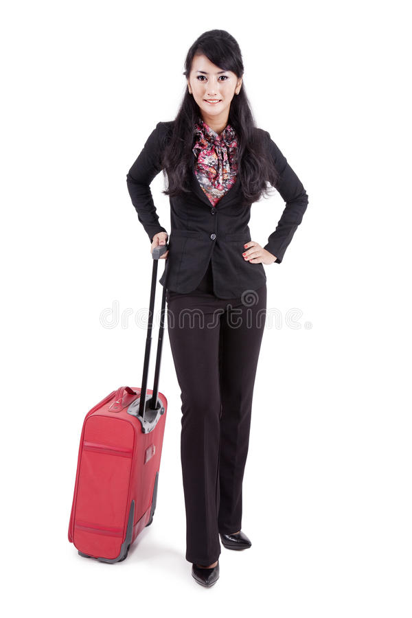 Businesswoman With Luggage Stock Images