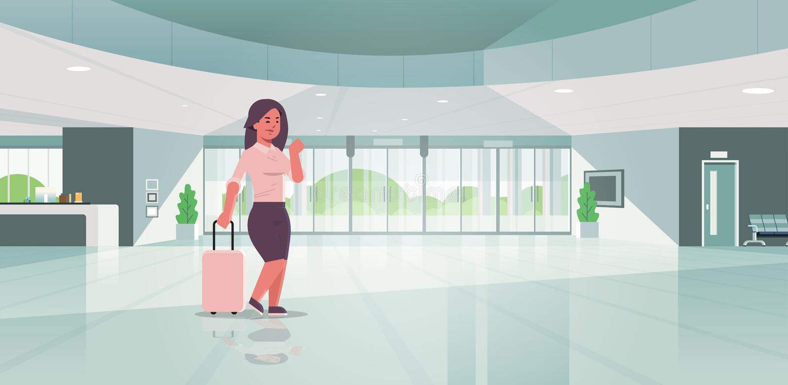 Businesswoman with luggage modern reception area business woman holding suitcase girl standing in lobby contemporary stock illustration