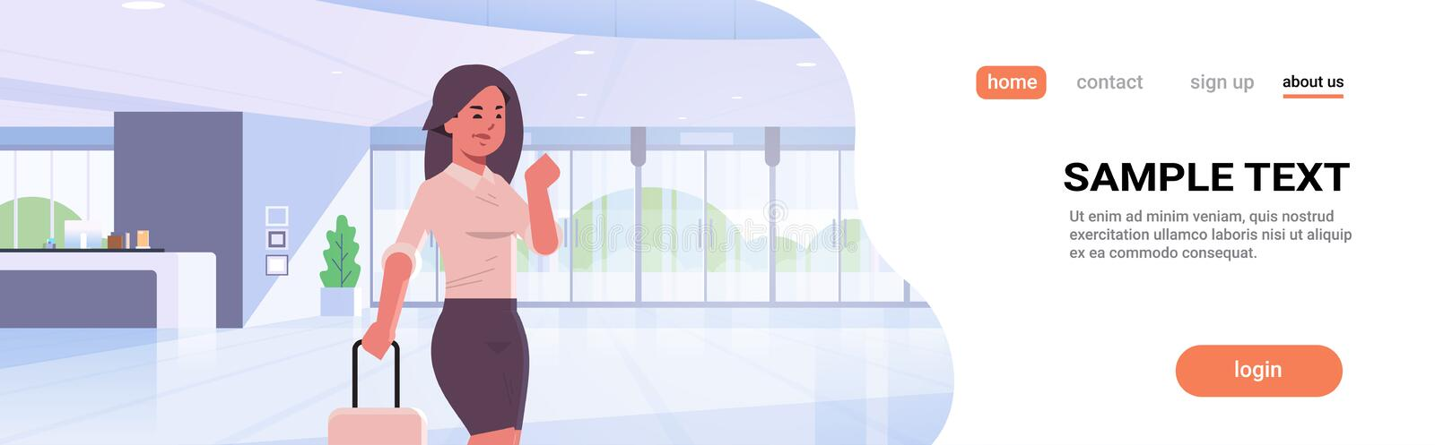 Businesswoman with luggage modern reception area business woman holding suitcase girl standing in lobby contemporary vector illustration