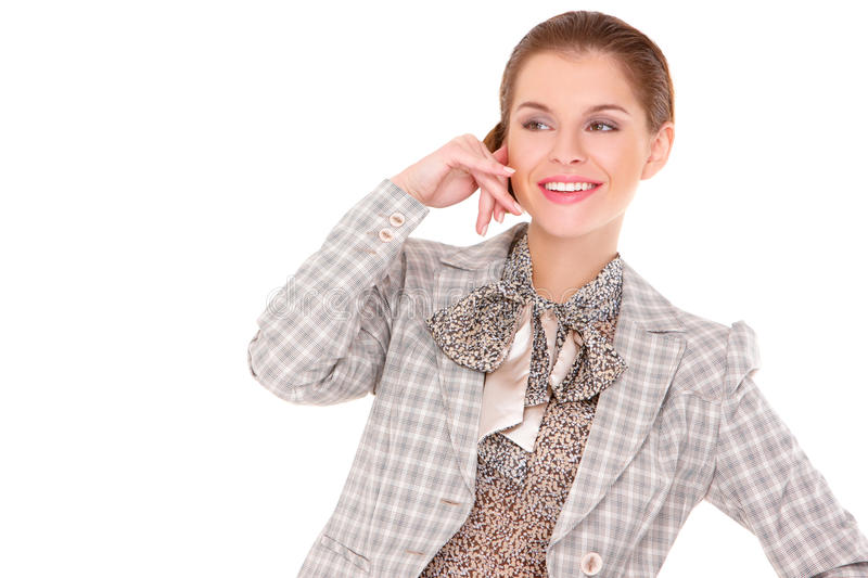 Businesswoman making call me gesture