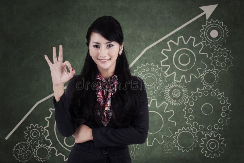 Businesswoman making an ok sign 2 stock photos