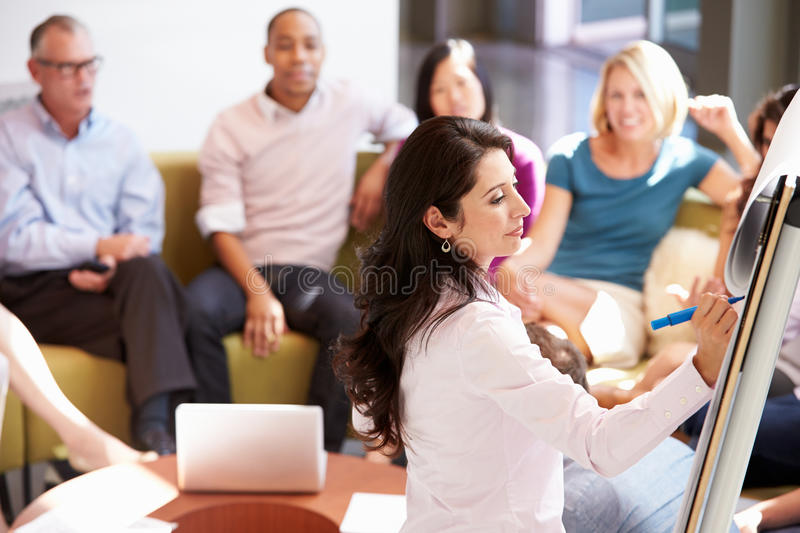 Businesswoman Making Presentation To Office Colleagues royalty free stock images