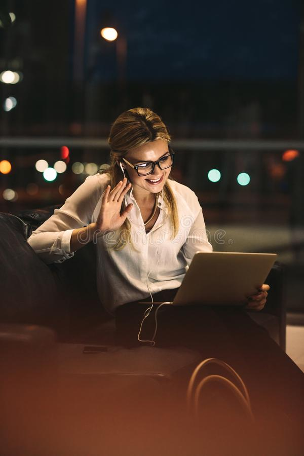 Businesswoman making a video call stock images