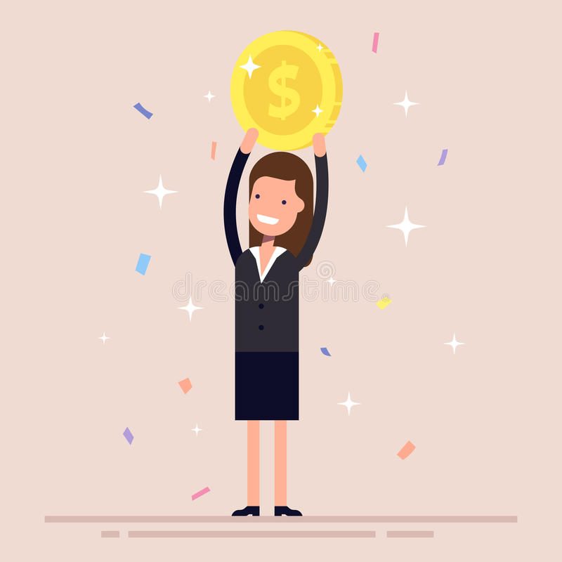 Businesswoman or manager holds a gold coin over his head. The girl in the business suit won the prize. Confetti and royalty free illustration