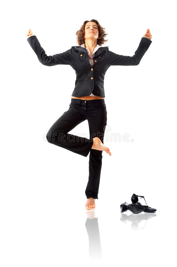 businesswoman meditating στοκ εικόνες