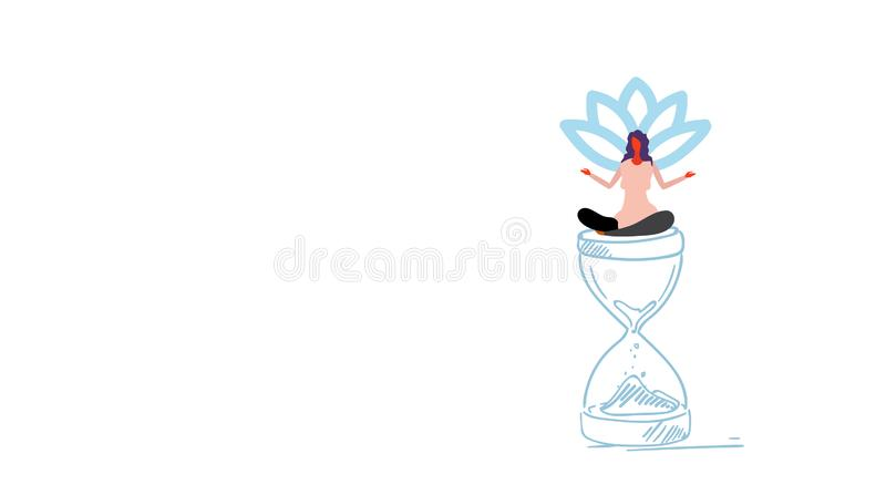 Businesswoman meditating sitting lotus position on sand watch deadline time management concept girl in yoga pose sketch vector illustration
