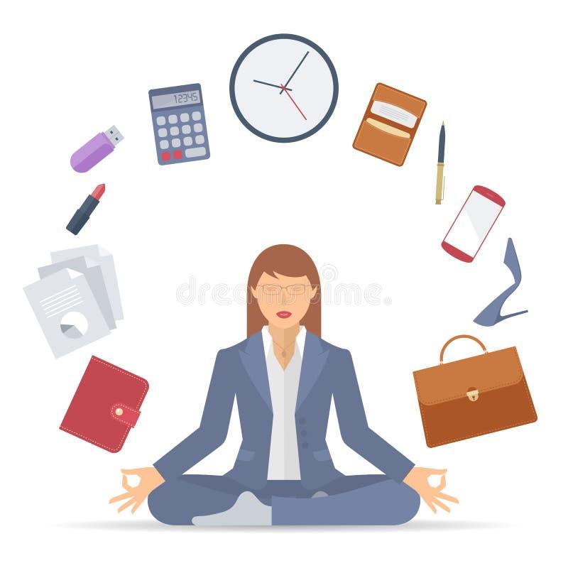 Businesswoman meditation A vector illustration