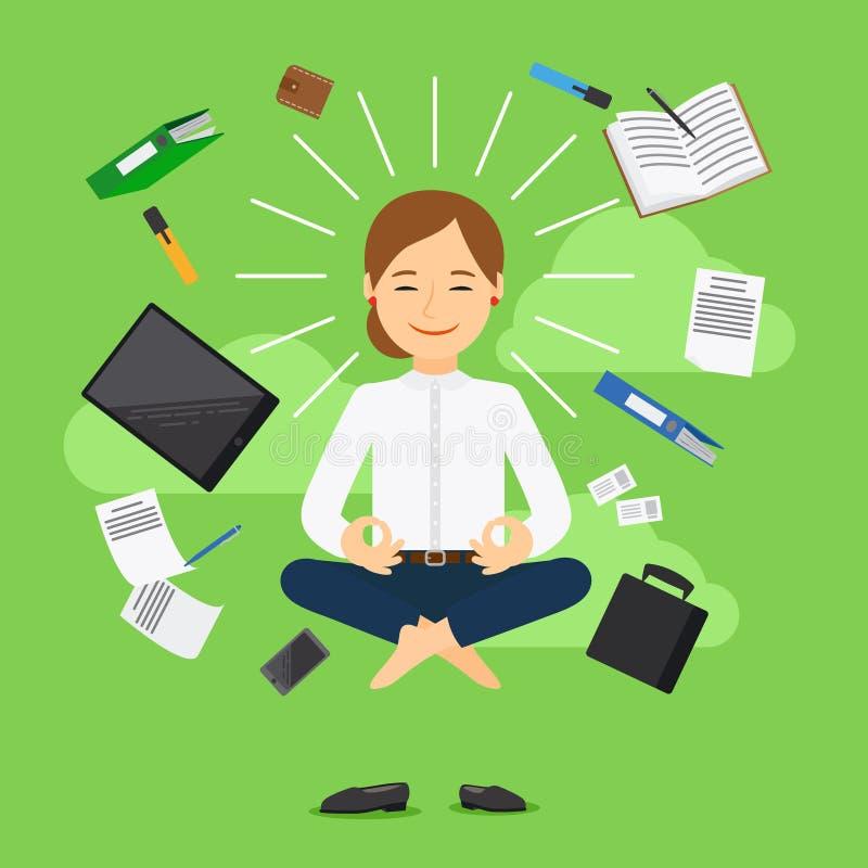 Businesswoman meditation vector icon royalty free illustration