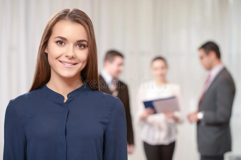 Businesswoman at the meeting royalty free stock photography