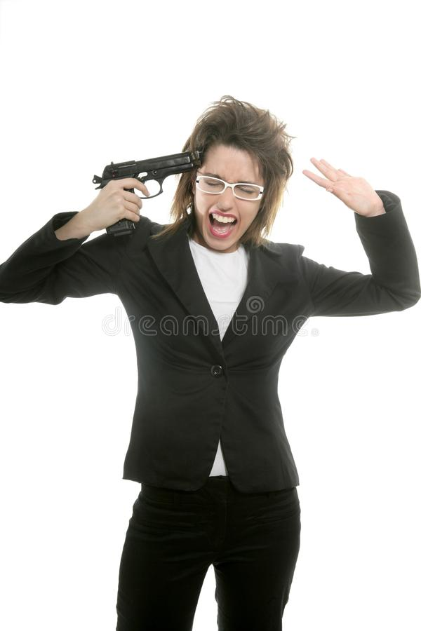 Businesswoman With Messy Hair And Handgun Stock Photography