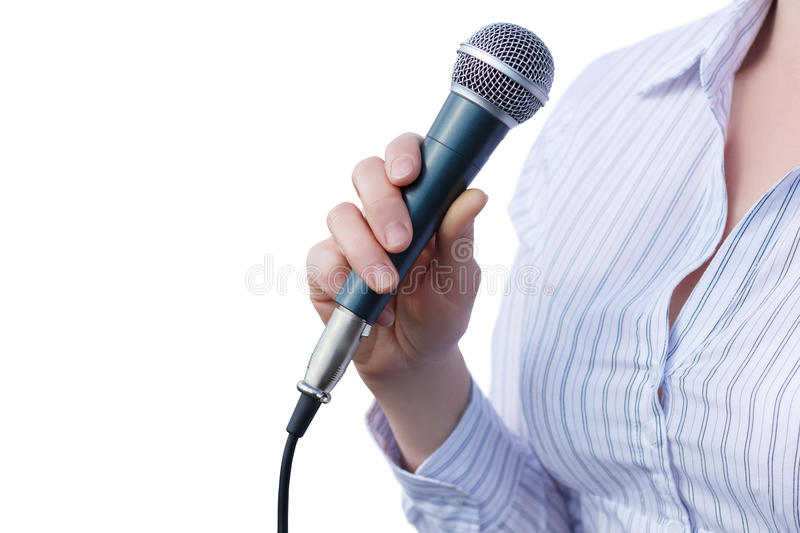 Businesswoman with microphone . royalty free stock image