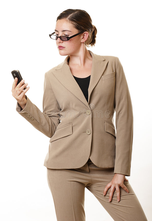 Businesswoman mobile glasses royalty free stock photo