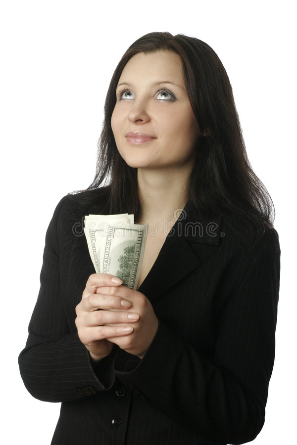 Businesswoman with money 4 stock photos