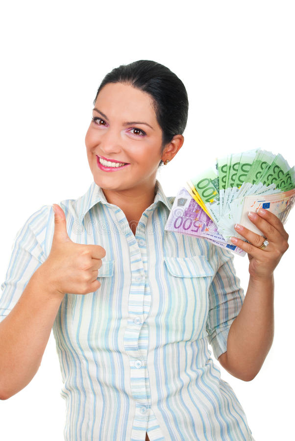Download Businesswoman With Money Giving Thumbs Up Stock Image - Image: 15628365