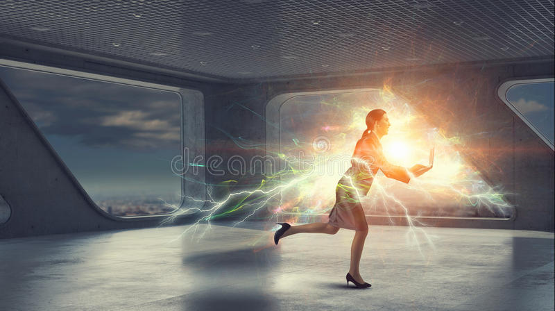 Businesswoman on the move royalty free stock images