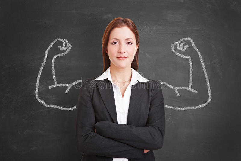 Businesswoman with muscles drawn with chalk stock photos