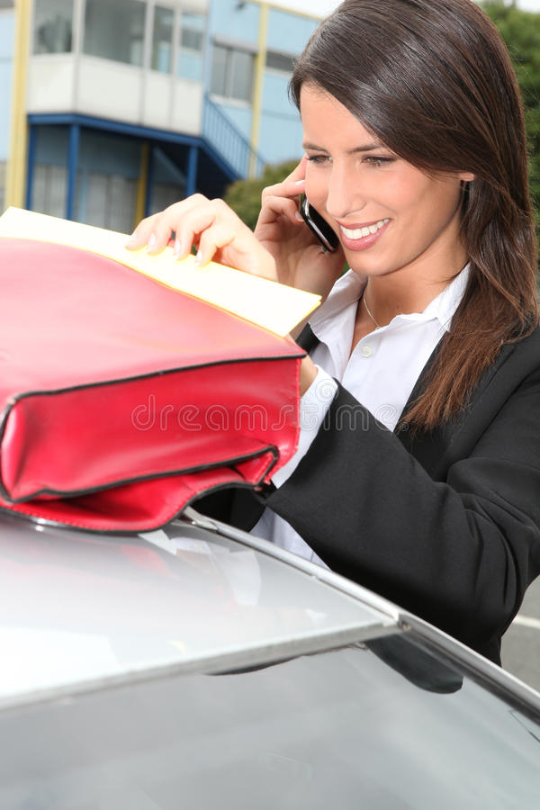 Download Businesswoman Next To Her Car Stock Photo - Image: 24019472