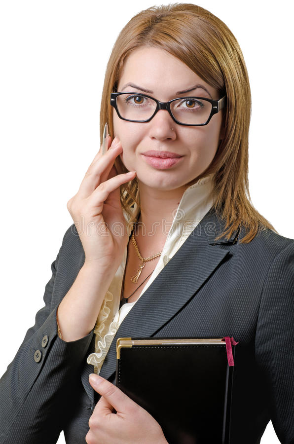 Businesswoman with a notebook royalty free stock photography