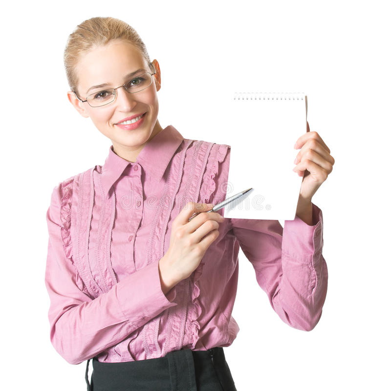 Businesswoman with notepad. Businesswoman with blank notepad, isolated on white royalty free stock photos
