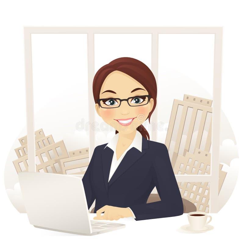 Businesswoman in office vector illustration