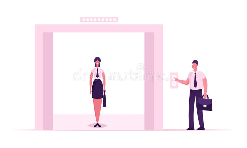 Businesswoman or Office Worker Wearing Formal Dress Stand in Elevator with Open Doors Waiting Inside Lift Stopped on Floor stock illustration