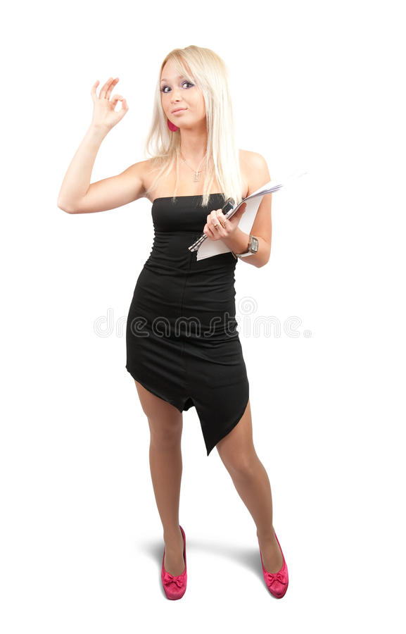 Businesswoman with ok royalty free stock photography