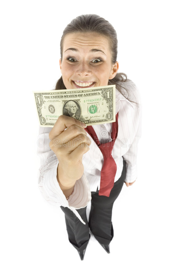 Businesswoman with one dollar banknote stock images