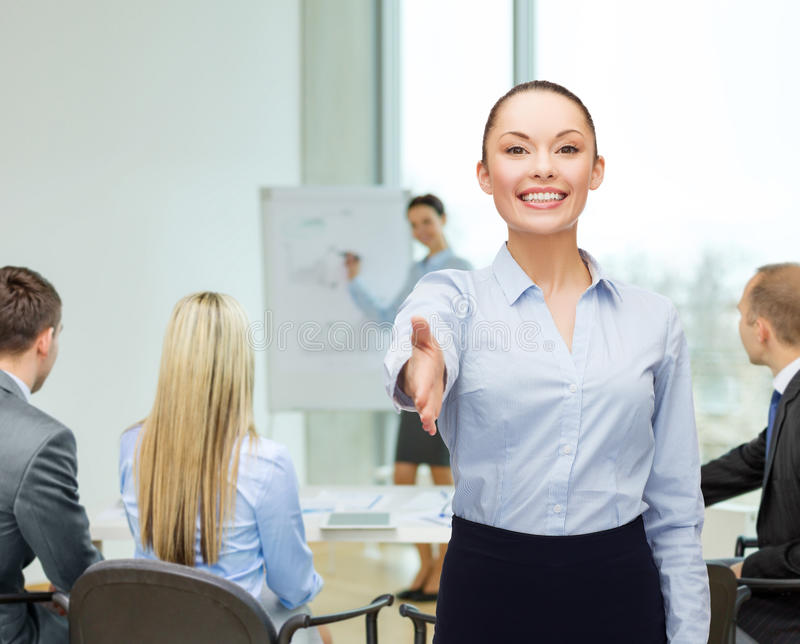 Download Businesswoman With Opened Hand Ready For Handshake Stock Photo - Image: 39638216