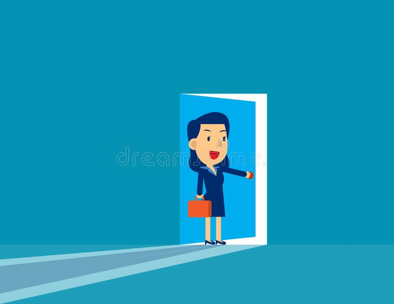 Businesswoman opening door. Concept cute business vector illustration,  Challenge, Successful, Flat cut character style royalty free stock photography
