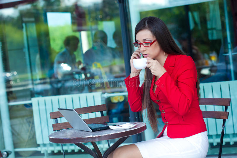 Download Businesswoman  In Outdoors Cafe Stock Image - Image: 21385059