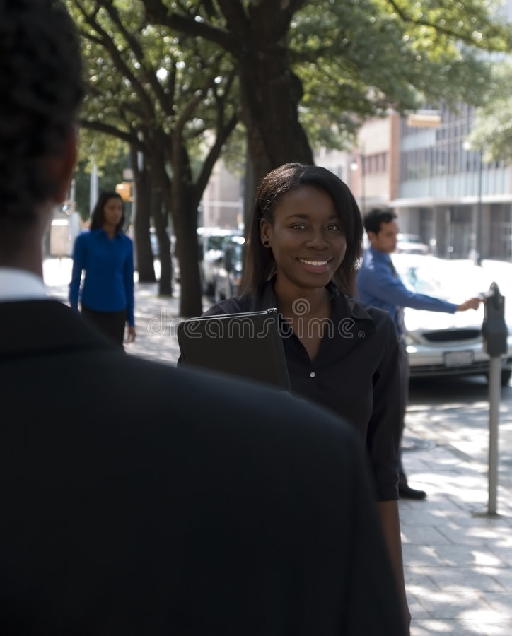 Businesswoman outside 1 royalty free stock image