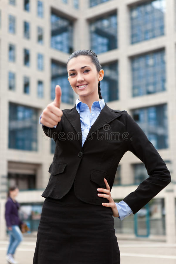 Businesswoman Outside A Modern Office Building Royalty Free Stock Photography