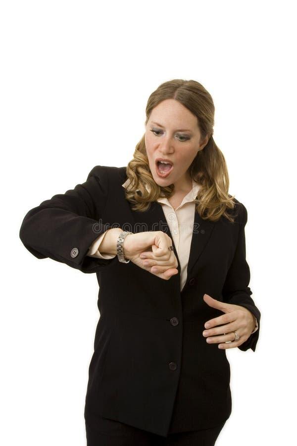 businesswoman późno obraz stock