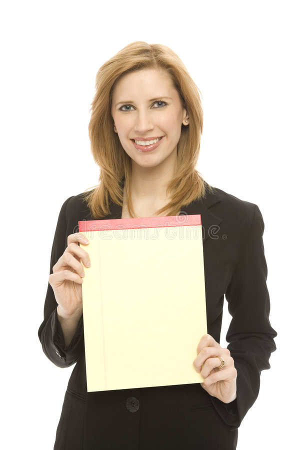 Download Businesswoman And Pad Of Paper Stock Photo - Image: 2277062