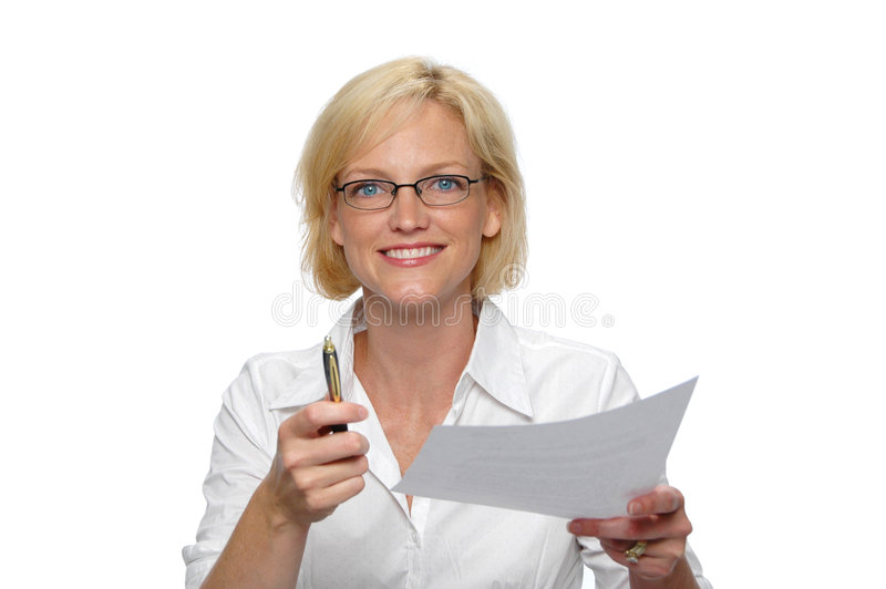 Download Businesswoman With Paper And P Stock Photo - Image: 2959596