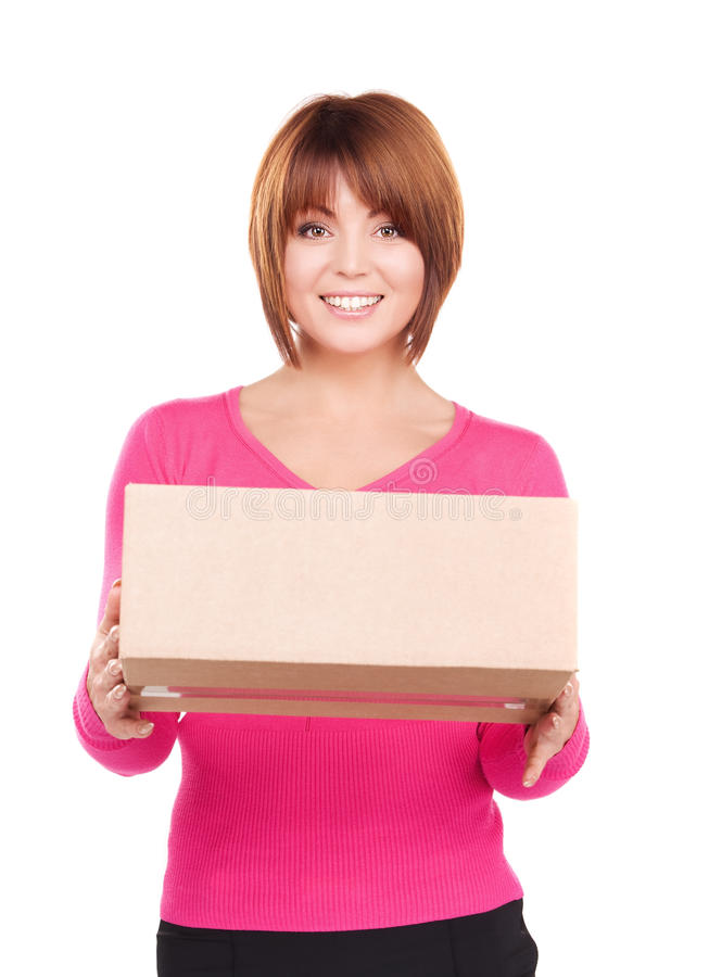 Businesswoman with parcel stock images