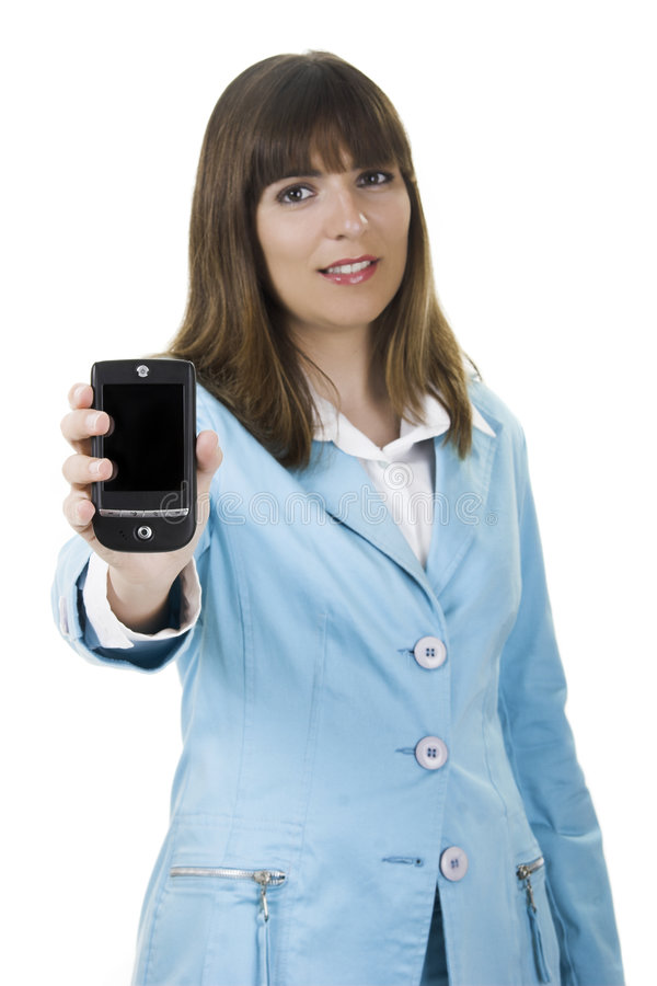 Businesswoman with a Pda. Beautiful businesswoman holding a PDA over a white background stock photography